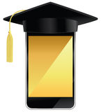 Smart phone. A smart phone wearing a graduation hat Royalty Free Stock Photography