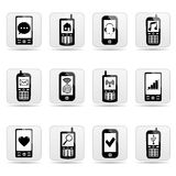 Smart-phone web buttons with signs on screens. Stock Photography