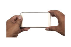 Smart phone white screen in hand isolated, Clipping path Royalty Free Stock Photography