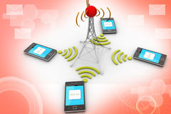 Smart phone and wireless technology Stock Photos