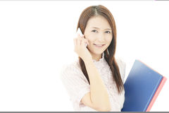 Smart phone with woman. Royalty Free Stock Photography