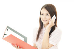 Smart phone with woman. Royalty Free Stock Images