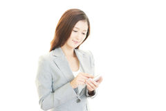 Smart phone with woman. stock photography