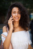 Smart phone and woman Stock Photo