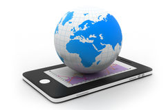 Smart phone with world Royalty Free Stock Images