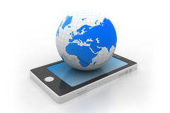 Smart phone and world globe Stock Photography