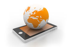 Smart phone and world globe Stock Photo