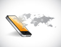 Smart phone and world map network illustration Stock Photos