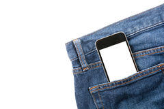 Smart phone in your pocket blue jeans Stock Images