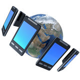 Smart-phones. 3d illustration of  smart-phones around the world  isolated on white Stock Photo