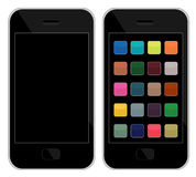 Smart Phones. Vector illustrations of smart phones, one clean, another with icons Stock Photo