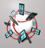 Smart Phones And Apps Global Communication Network Royalty Free Stock Photography