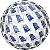 Smart Phones App Tiles Sphere Pattern. A sphere of application app tiles showing smart cell phones connected and linked in a communication network Stock Image