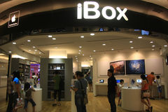 SMART PHONES APPLE. Visitors see the products apple smart phone in the iBox, Jakarta Royalty Free Stock Image