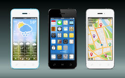 Smart phones with apps icons, weather and GPS navigation widgets. Vector illustration Stock Photos