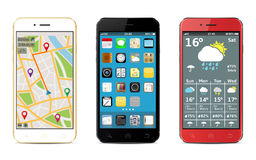 Smart phones with apps icons, weather and GPS navigation widgets, royalty free illustration