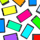 Smart Phones - Array of Colored Screens. Many smart phones side by side with screens of different colors Stock Image