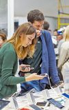 Smart phones booth at CEE 2017 in Kiev, Ukraine Royalty Free Stock Photo