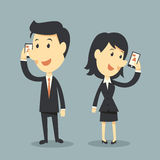 Smart phones. Business cartoon concept Royalty Free Stock Photography