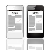 Smart phones with business news Stock Photo