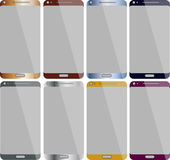 Smart Phones collection. New generation Smart mobile devices collection with empty screen Royalty Free Stock Image