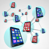 Smart Phones in Communication Linked Network Spheres. A linked network of smart phones in spheres sharing messages and apps on their touch screens with modern Royalty Free Stock Image