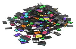 Smartphones Pile. Smart phones discarded cartoon pile, 3d illustration, horizontal, over white, isolated Royalty Free Stock Photos