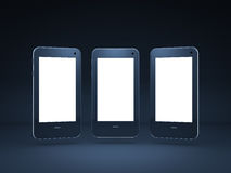 Smart phones display. On black background Stock Photos