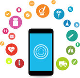 Smart phones and health icons Stock Images