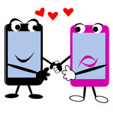Smart Phones With Hearts. Holding hands Stock Image