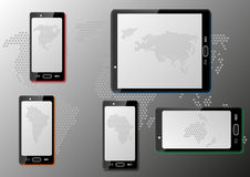 Smart phones with maps Royalty Free Stock Image