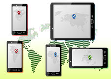 Smart phones with maps. Infographic with smartphones and maps of world on each screen Royalty Free Stock Images
