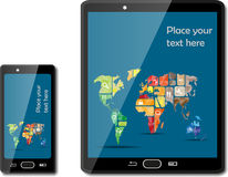 Smart phones with maps Royalty Free Stock Photos