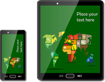 Smart phones with maps Stock Image