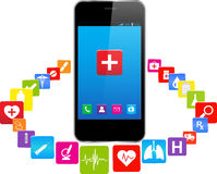 Smart phones and medical icons Royalty Free Stock Image