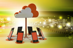 Smart phones network with cloud computing. In color background Stock Photography