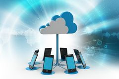 Smart phones network with cloud computing. 3d illustration of Smart phones network with cloud computing Stock Image