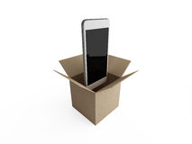 Smart phones out of the box in brown paper. Art Royalty Free Stock Photo