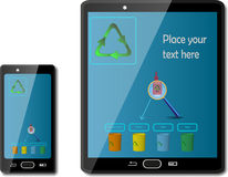 Smart phones with recycling signs Royalty Free Stock Photos