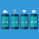 Smart phones with sunglasses, eyes, mustache and smile on blue background. Design vector illustration. Stock Photos