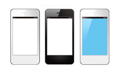 Smart phones. Three blank smart phones on white background Royalty Free Stock Photo