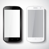 Vector smart phones on white background. Black and white smart phones on white background.Vector illustration Royalty Free Stock Image