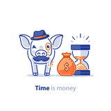 Smart pig in hat with mustache, superannuation fund, pension savings investment plan. Wise old pig with mustache and hat, financial investment vector Stock Photography