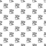 Smart plant pot pattern seamless vector illustration