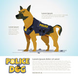 Smart police dog. character design come with typographic  - vect Royalty Free Stock Images