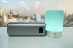 Smart portable music speaker light in green color with wireless bluetooth speaker Royalty Free Stock Photography