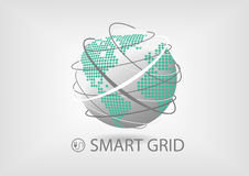 Smart power grid concept for energy sector. Vector illustration of spinning globe with line connections and dotted world map of America and Europe, Africa. Smart Stock Photo