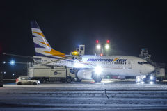 Smart. PRAGUE, CZECH REPUBLIC - JANUARY 6: Smart Wings Boeing 737-7Q8 during de-icing at PRG Airport on January 6, 2017.Smart Wings is a brand of the Czech Stock Photo