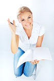 Smart pretty college student Royalty Free Stock Image