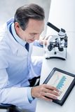 Smart professional scientist using a tablet. Modern technology. Smart professional male scientist sitting at the table and using a tablet while looking at the Royalty Free Stock Image